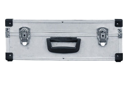 Used aluminum suitcase. Isolated white background. photo