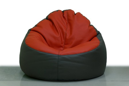 pouf: red brown pouffe on white