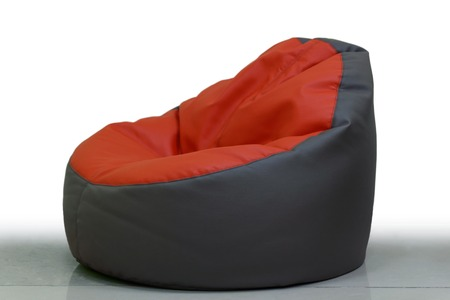 red brown pouffe on white