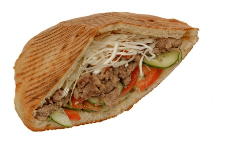 Doner kebab sandwich with beef meat. Isolated on white background