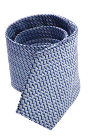 windsor: closeup of blue tie on spiral, isolated on white background