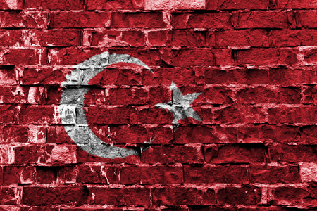 Flag of Turkey painted on brick wall Stock Photo