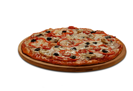 Pizza with tomatoes and papper; meat and mashrooms. On white background