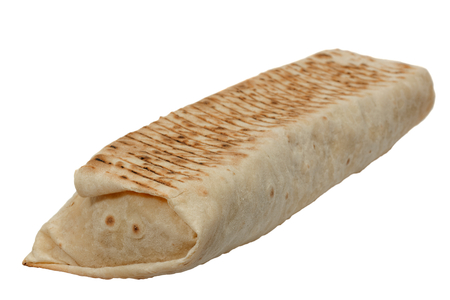 Shawarma or tortilla or burritos. Isolated on white Stock Photo