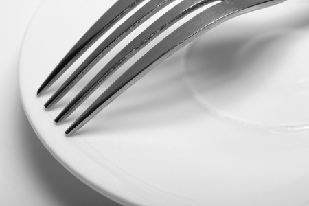A fork on a Dish. close-up on white background