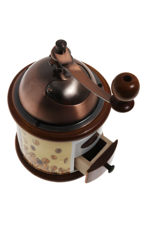 coffee mill closeup isolated on white background