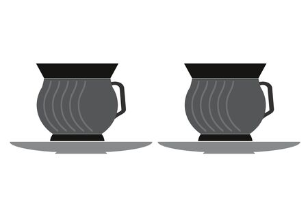 Design of black color tea cups with saucer.