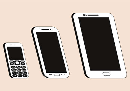 Picture of a Technology of Mobile Phones, vector graphic design in black and white color.