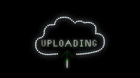 Text sign bulbs LED pixels, light flashing, blinking lights advertising banner. Light Text Logo. Digital Display. Imagens