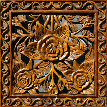 wood carving door: Fragment of carved wood decorative panel : can be used as background or texture Stock Photo