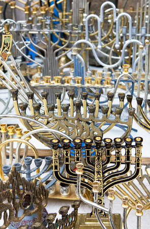 Background of the  retro and antique traditional Jewish holiday candlesticks. Jerusalem flea market.