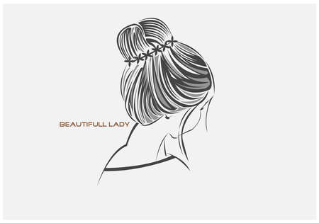 vector illustration of black sketch lining drawing girl isolated on white background