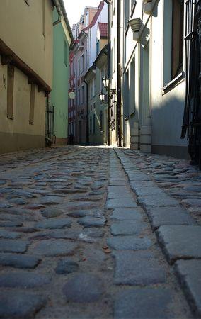Narrow streets in Riga Stock Photo