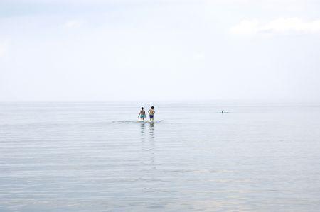 Calm on gulf of Riga in Jurmala  Stock Photo