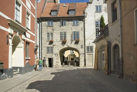 The Swedish gate in Riga in the summer Stock Photo