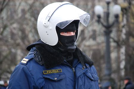 The Latvian policeman in the protective form  2