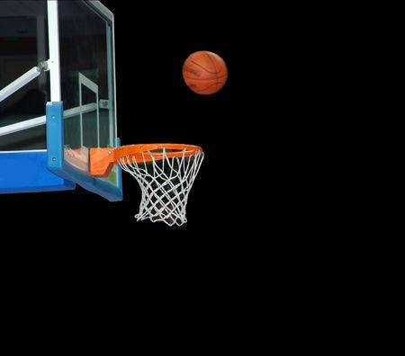 Basketball board and basketball ball  Stock Photo