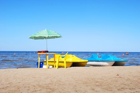 jurmala: Rest on coast of gulf of Riga in Jurmala Stock Photo