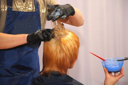 Painting of hair in a beauty salon Stock Photo - 3849991