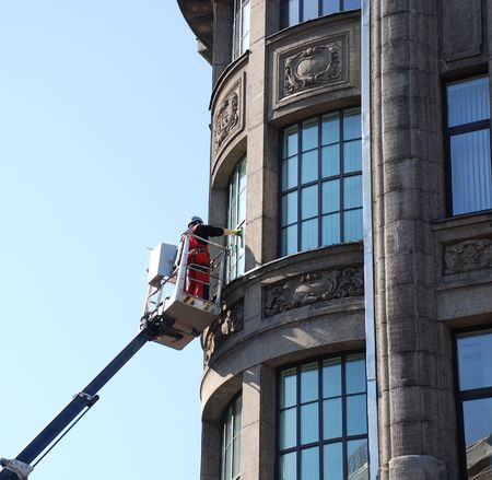 Cleaning of windows. Work at height.