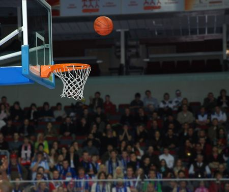 Basketball, exact throw of a ball in a basket
