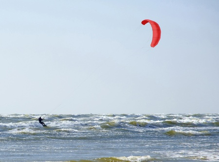 jurmala: Jurmala (Latvia). Surfing with a parachute (kaitserfing)  Stock Photo