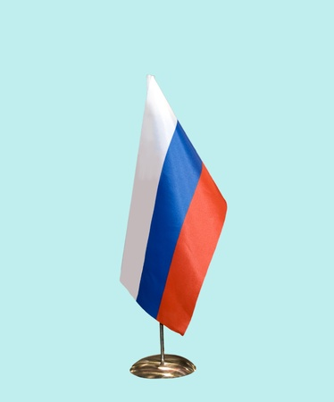 russia flag: Flag of Russia on a support, isolated on blue,