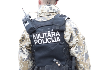 bullet proof: Military police regimentals, isolated on white,