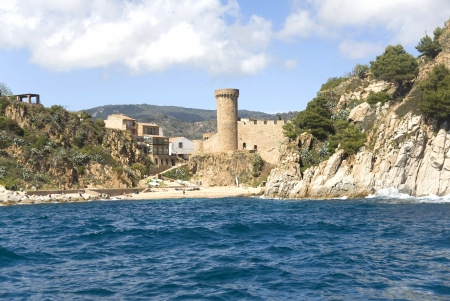 Spain, Costa Brava  A fortress ashore at Lloret de Mar  Stock Photo