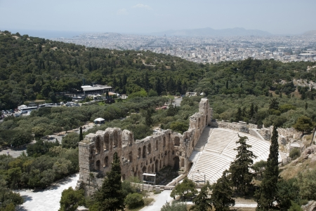 2nd century: The Odeum theater, at the bottom of the sacred rock of the Acropolis in Athens, on South side, was constructed in the 2nd century AD  160-174