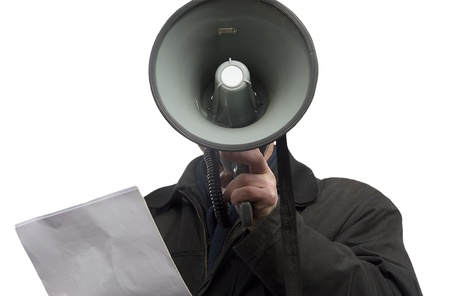 Person communicating by means of a megaphone