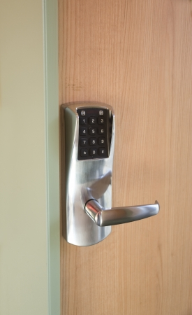 The digital electronic lock on a door to the room