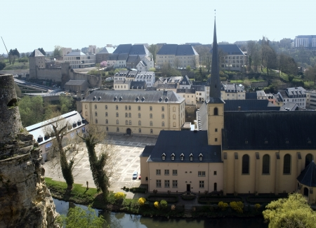 benelux: Europe, Luxembourg  Look with top on the lower city and a church  Stock Photo