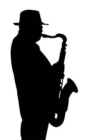 musician silhouette: Silhouette of the musician playing on a saxophone, isolated on the white