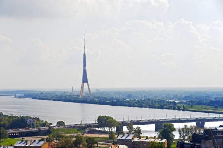 Latvia, Riga  View of the  river  and television tower