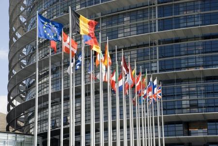european parliament: Europarliament  Flags of the countries of the European Union at an input in Europarliament