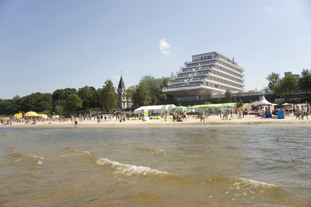 jurmala: Europe, Baltic, Latvia, Jurmala    View of the coast and hotel from the gulf  Stock Photo