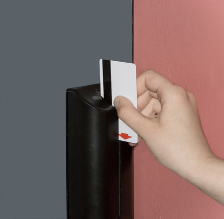 Door opening device with the electronic lock by the plastic magnetic card. Stock Photo