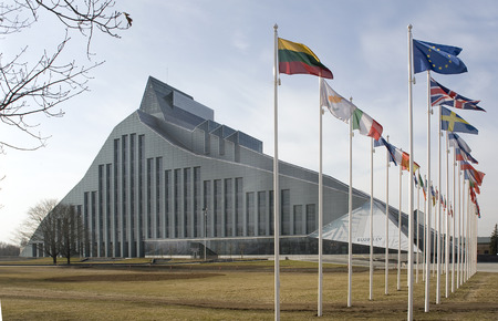 presidency: Baltic,  Latvia, Riga. The building of National library - a venue of actions during Presidency of Latvia in the EU.