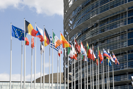 holand: Europe, France, Strasbourg. Europarliament. Flags of the countries of the European Union at an input in Europarliament Stock Photo