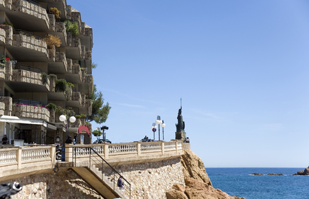costa brava: Spain. Costa - Brava. A view of the embankment and hotel  on the rock of Tossa de Mar