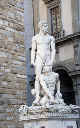 cannibal: Europe, Italy, Florence. Sinoriya Square. The sculpture Heracles kills the robber and the cannibal Kakus, work of the sculptor Bandinelli. Stock Photo