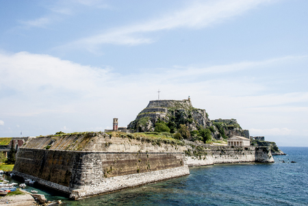 artificially: Europe, Greece. Old fortress to Corfu is constructed on artificially created rocky island.