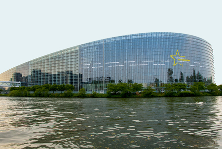 european parliament: Europe, France, Strasburg, the European Union, the European parliament, the Council of Europe, court on human rights. � view from side of the canal.