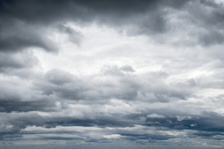 tragic: Dark clouds in the sky before the storm or thunderstorm Stock Photo