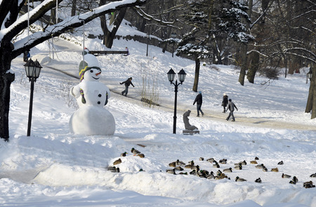 Riga.  Snowman and driving from the mountain of children in the park