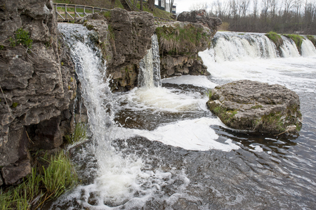 Europe; Baltic; Latvia; Kuldiga. The most extensive falls in Europe on Vents river. Stock Photo