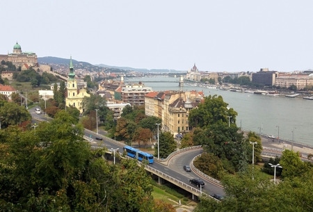 View of Budapest and the Danube River with the mountains Gallert. Stock Photo