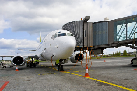 Airport. Preparation of the airplane for flight. Stock Photo