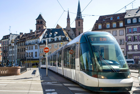 France, tram in the street the cities of Strasbourg